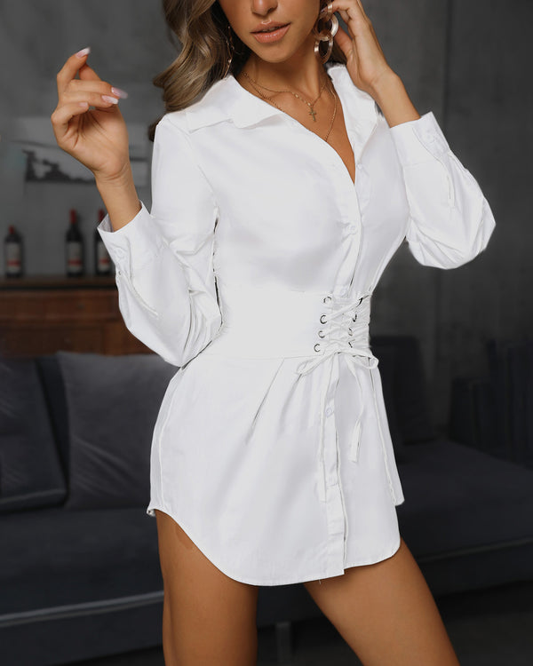 Solid Eyelet Lace-Up Front Shirt Dress