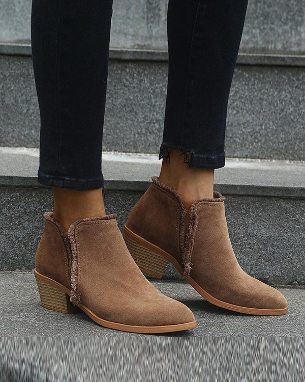 Splicing Round-toe Low-heel Cut-out Ankle Boots