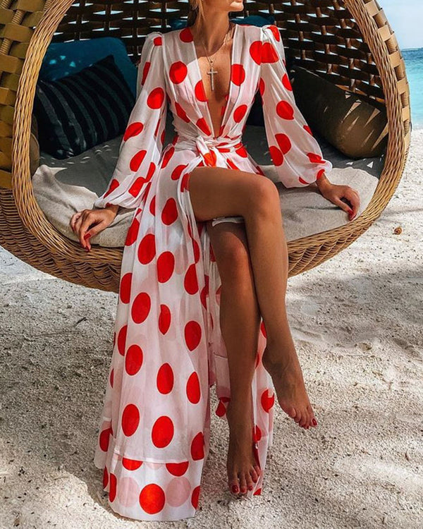 Plunge Polka Dots Knotted Slit Maxi Dress