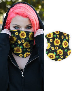 Sunflower Print Breathable Face Bandana Magic Scarf Headwrap Balaclava
