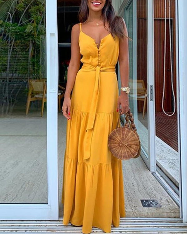 Spaghetti Strap Button Knotted Ruffle Trim Maxi Dress