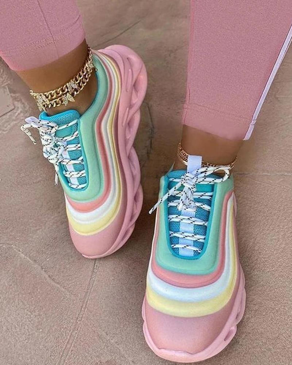 Rainbow Colorblock Lace-up Sneaker