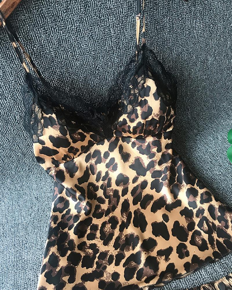 Leopard Print Lace Trim Cami Sets