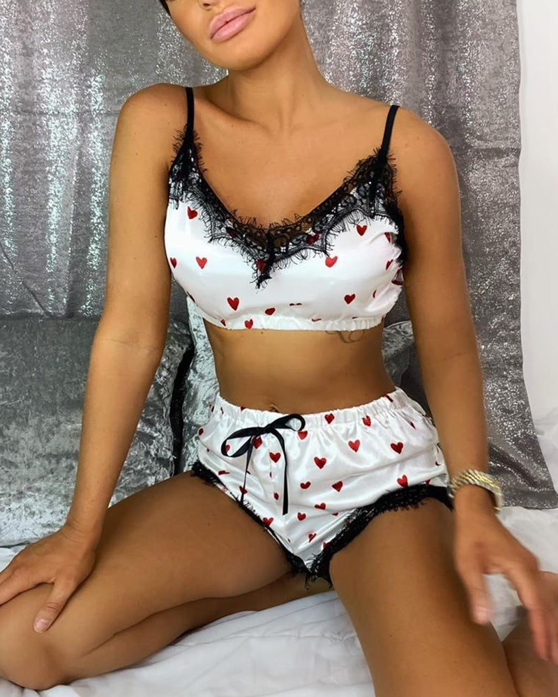 Heart Print Eyelash Lace Cami Sets