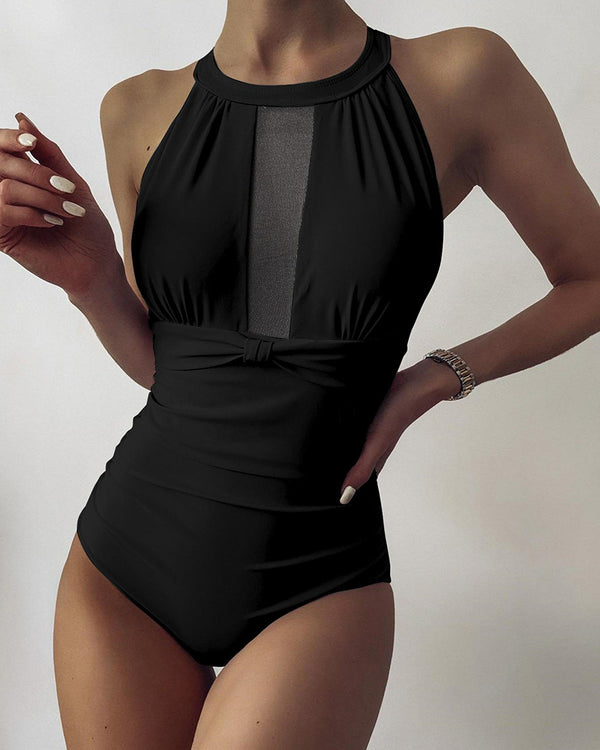 Solid Sleeveless Cut-out Mesh Patchwork Skinny One-piece Swimwear