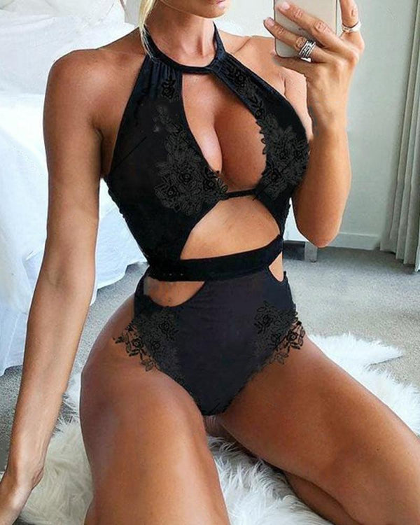 Solid Halter Cut-out Skinny Bodysuit