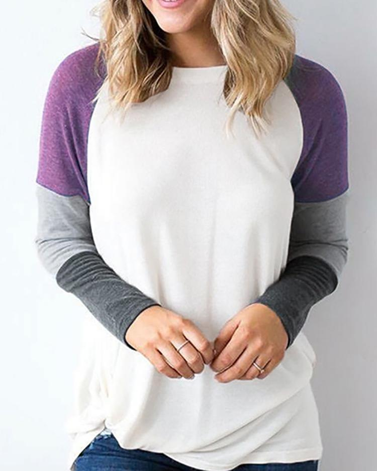 Contrast Color Long Sleeve Casual T-Shirt