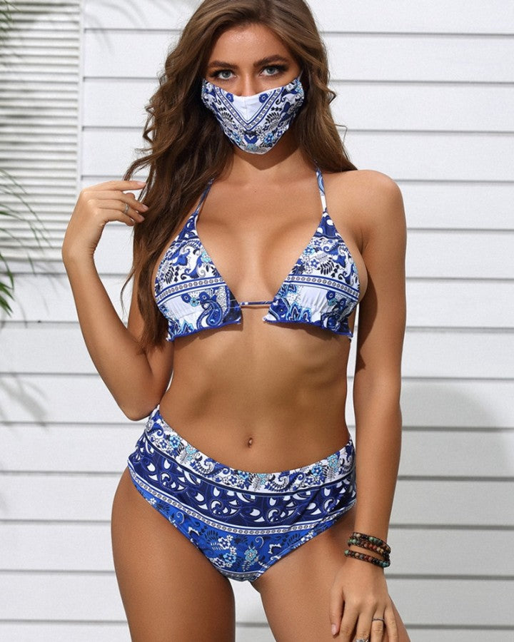 Baroque Print Frill Hem Halter Bikini Set With Face Bandana