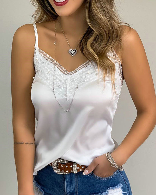 Spaghetti Strap Beaded Lace Cami Top