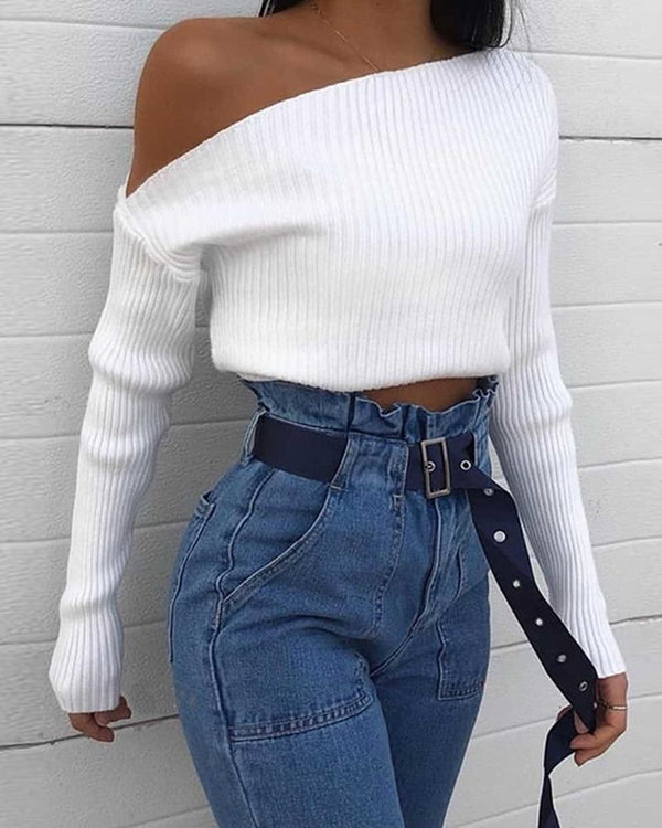 Plain One Shoulder Long Sleeve Knit Sweater