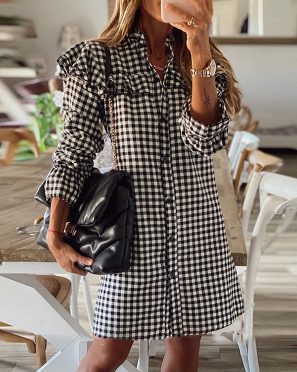Gingerham Printing Long Sleeve Ruffles Shirt Dress