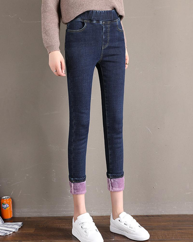 Solid Skinny Fleece Skinny Pencil Pants