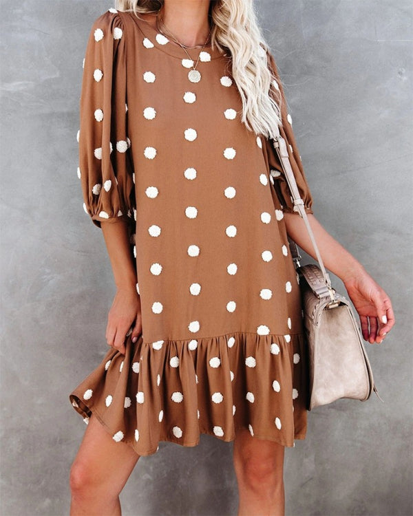 Polka Dot Long Sleeve Ruffle Hem Mini Chiffon Dress