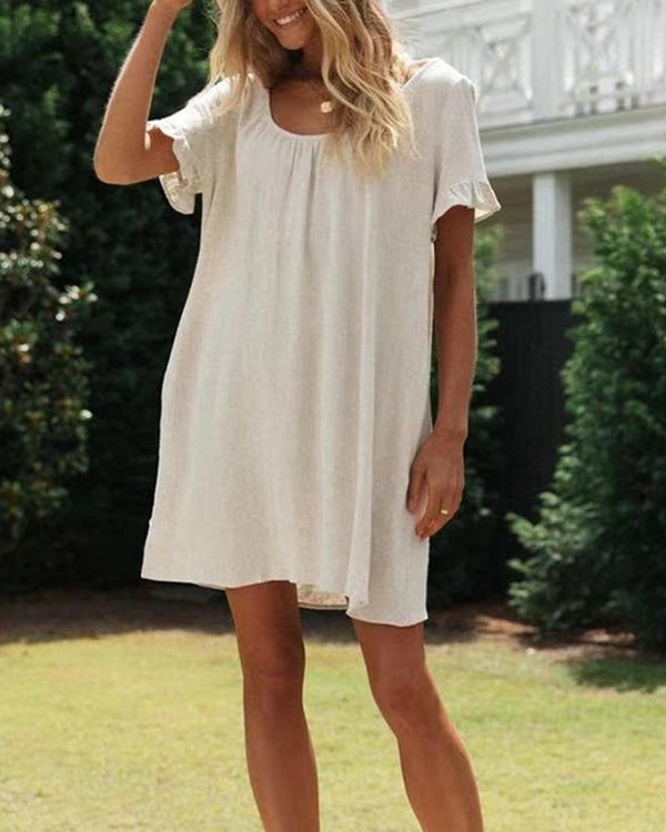 Lace-up Solid Color Ruffle Sleeve Mini Dress