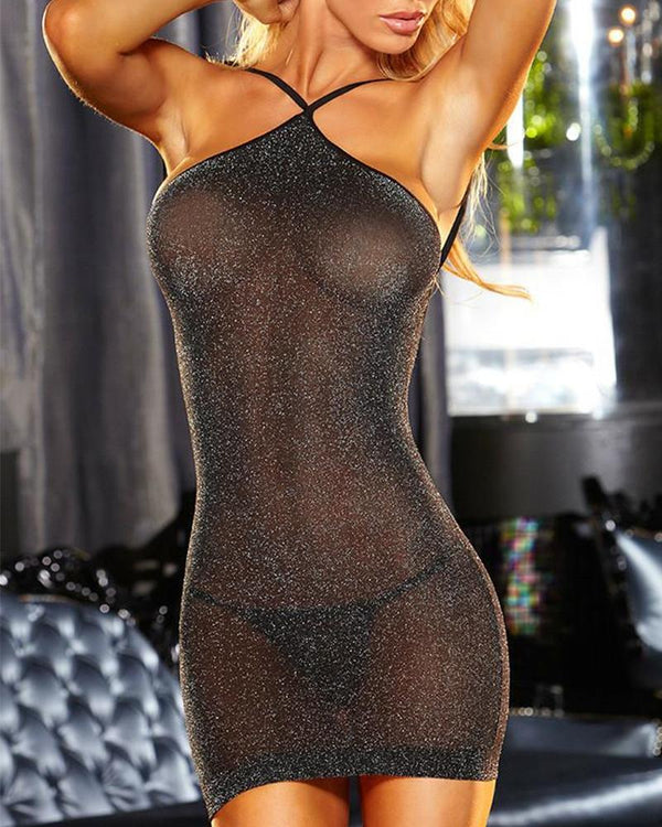 Solid Halter Skinny See-through Glitter Mini Dress With Panties Sexy Sets