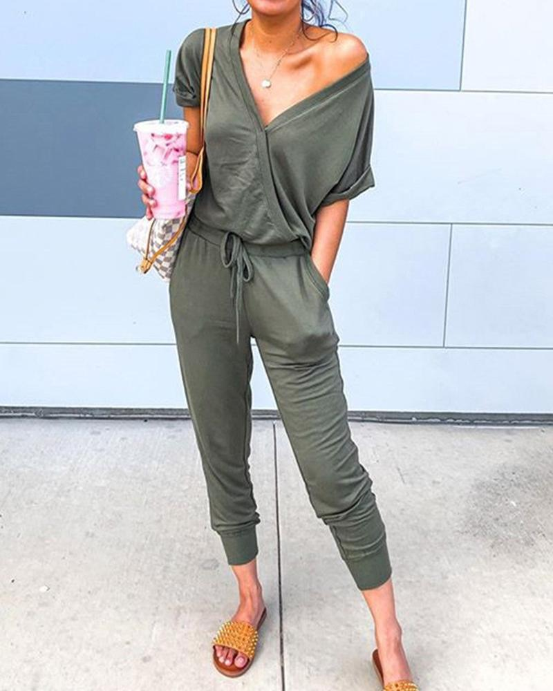 V Neck Short Sleeve Jumpsuit