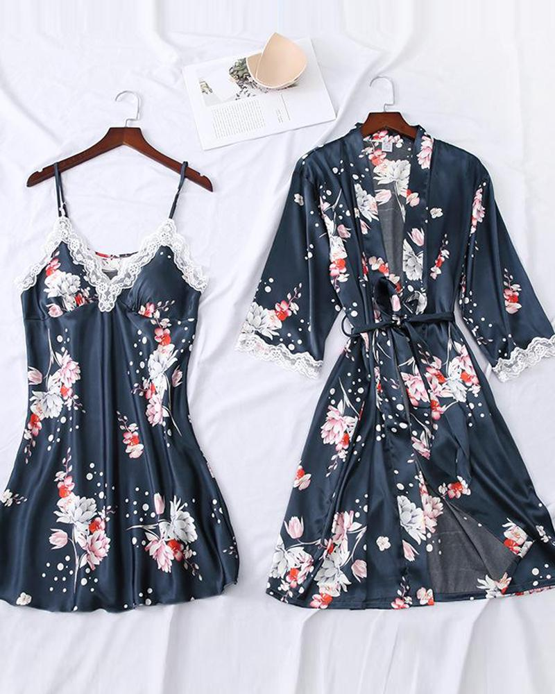 Floral Print Robe & Camisole