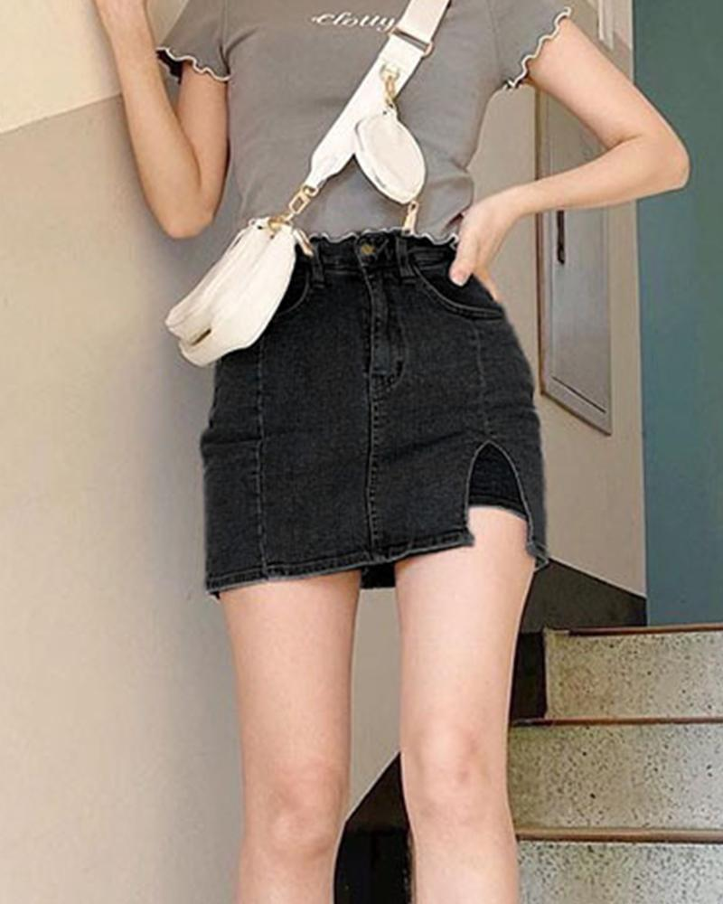 Denim Layered Mini Skirt