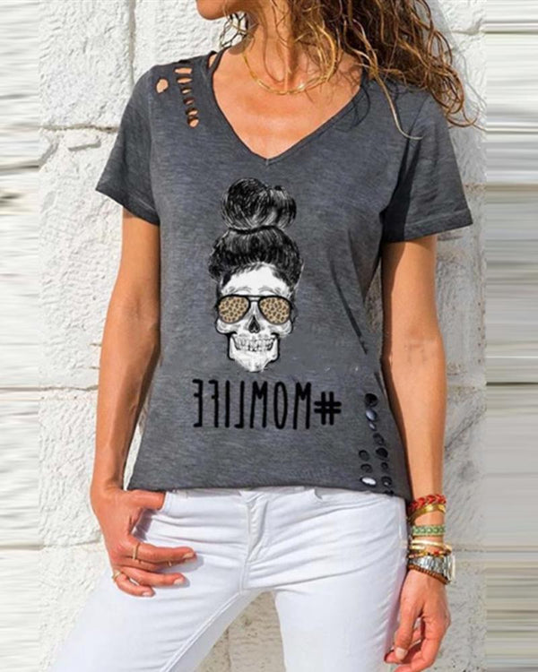 Print V Neck T-shirt Top
