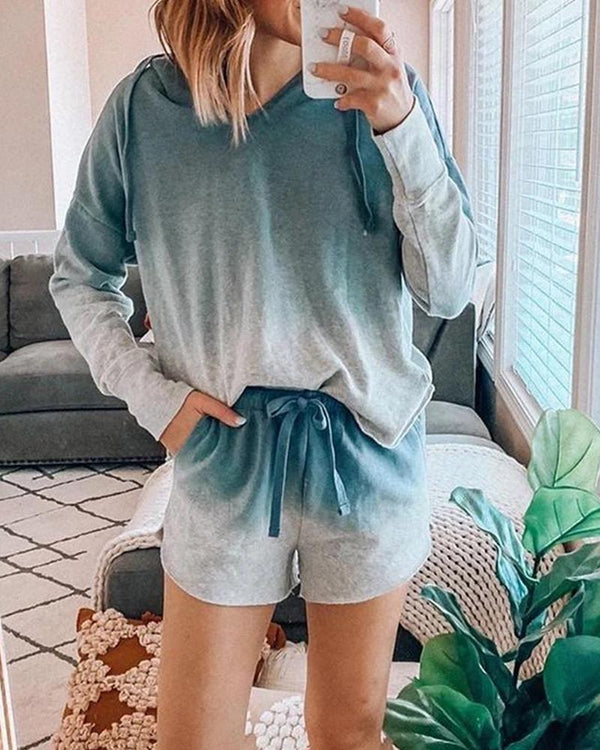 Gradient Hooded Sweatshirt Shorts Sets