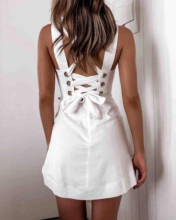 Square Neck Lace-Up Back Dress
