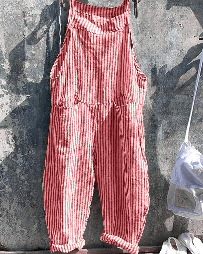 Striped Sleeveless Overall Jumpsuit