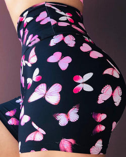 Butterfly Print High Waist Yoga Shorts