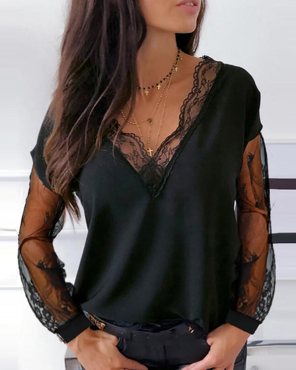 Sheer Mesh Lace Plain Blouse