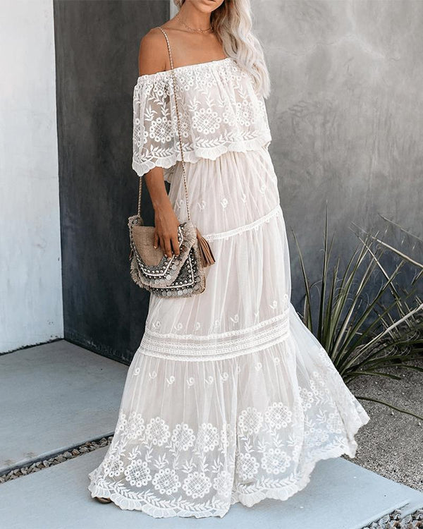 Off Shoulder Crochet Lace Sheer Mesh Maxi Dress