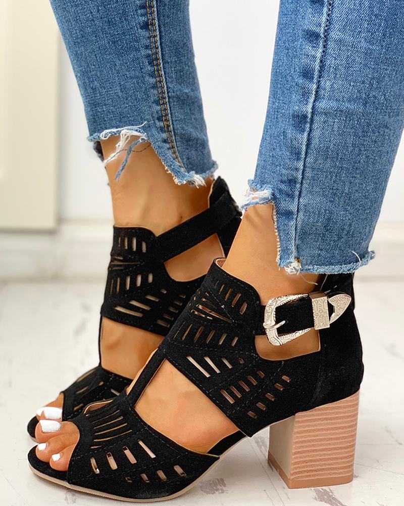 Solid Hollow Out Chunky Sandals