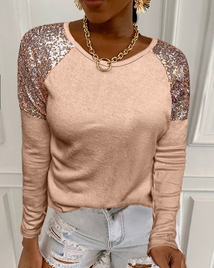 Sequins Long Sleeve Casual Top