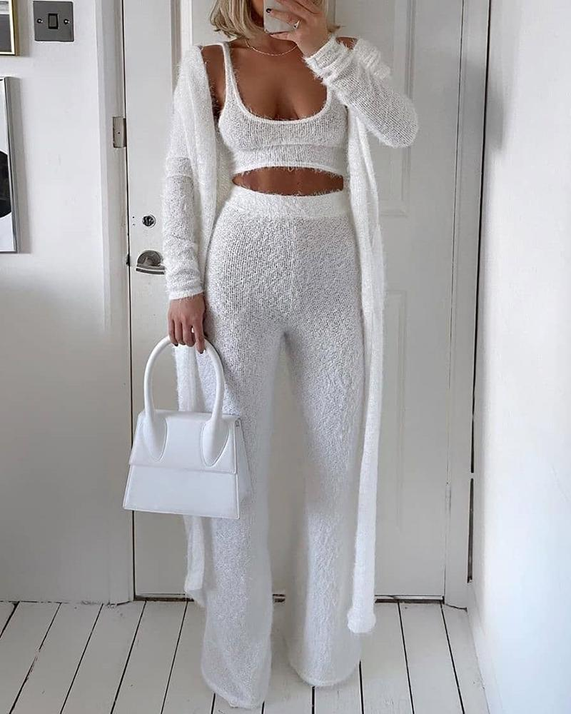 Solid Fluffy  Sleeveless Crop Top & Longline Coat & Bootcut Pants Set