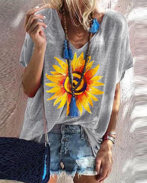 Sunflower Print V Neck Loose T-shirt