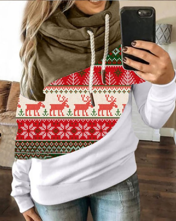 Christmas Print Colorblock Hooded Top