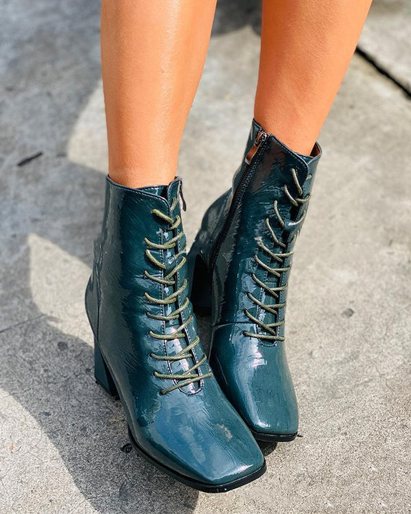 Lace-up Square-toe High Heel Boots