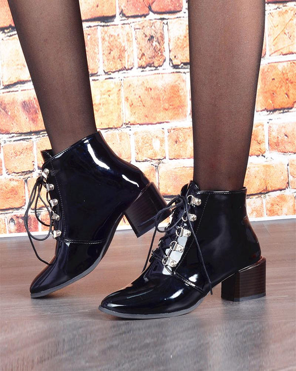 Lace-up Pointed-toe Solid Color Boots