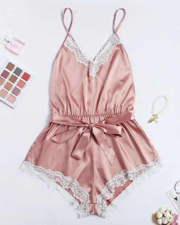 Satin Lace Trim Lounge Romper