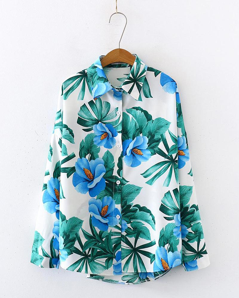 Tropical Print Button Detail Shirt