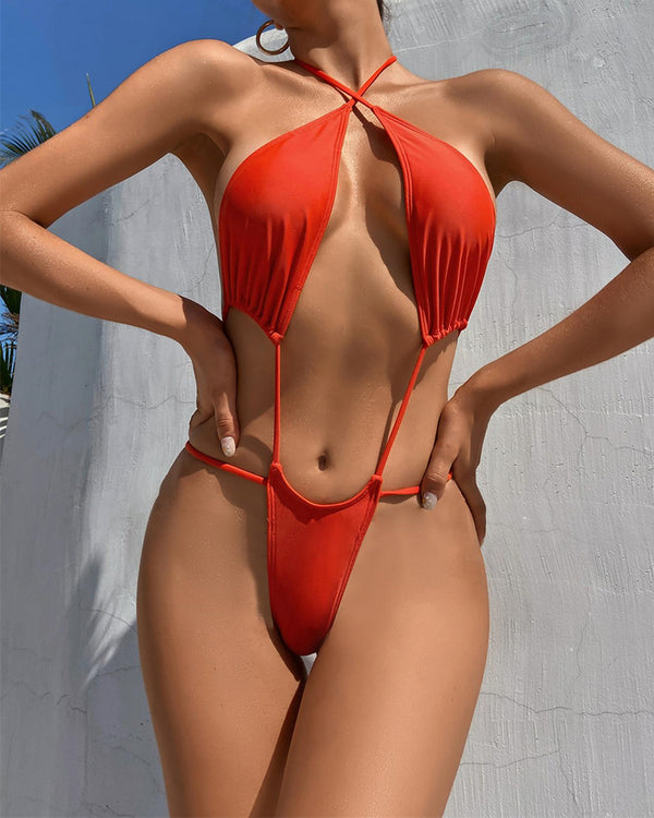 Solid Halter Starppy Bra With Panties One-piece Swimwear