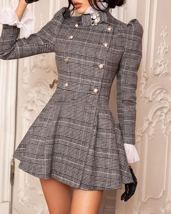Plaid Puffed Sleeve Ruffles Dress