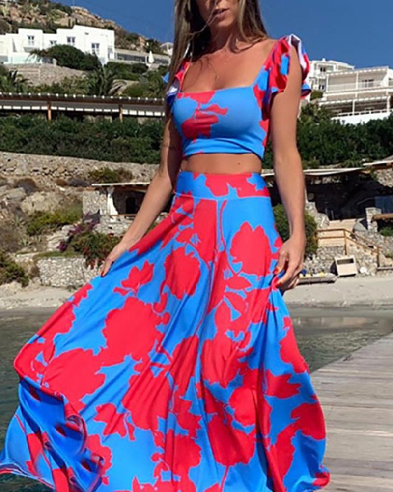 Square Neck Crop Top & Maxi Skirt