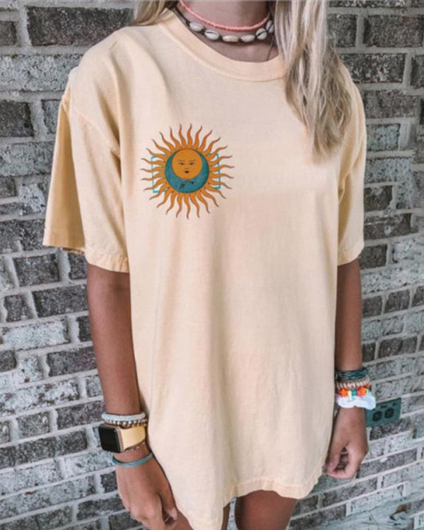 Comfy Print Loose Round Neck T-shirt
