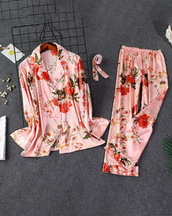 Print Long Sleeve Pajamas Set
