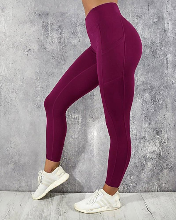 Solid Color Fit Yoga Long Pants With Pocket