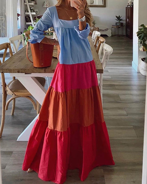 Multicolor Patchwork Long Sleeve Loose Dress