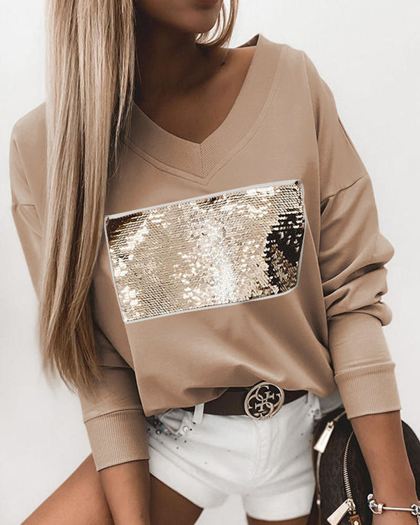Sequin Decoration Long Sleeve Loose Sweatshirts
