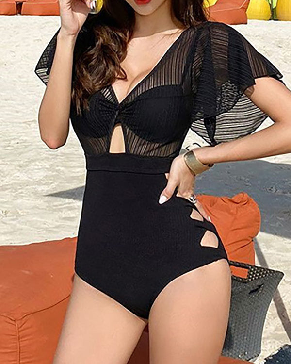Sheer Mesh Cutout One Piece Swimsuit With Bra