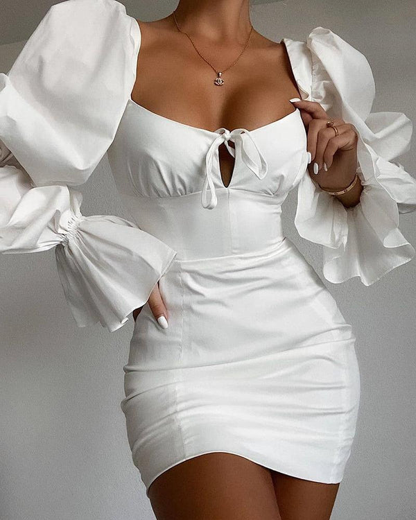 Tie Front Cutout Puff Sleeve Dress
