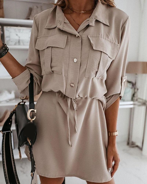 Solid Drawstring Roll-up Sleeve Shirt Dress