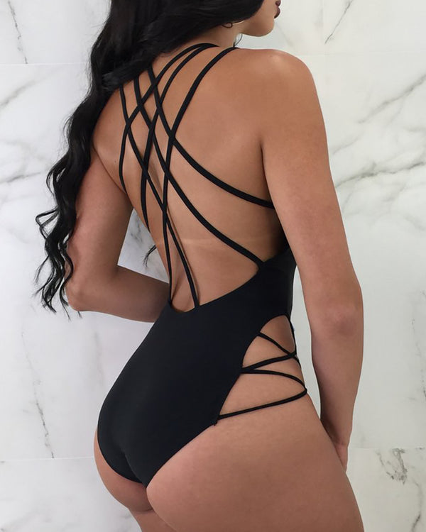Lace-up Plunge Backless Cutout One Piece Swimsuit